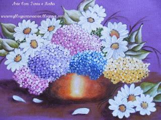 Pintura em tecido-hortênsias e margaridas em cachepô
