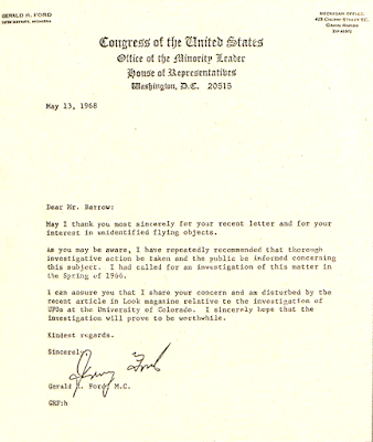 Letter From Congressman Gerald Ford To Robert Barrow 5-13-1968