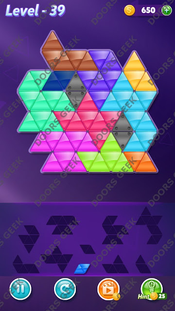 Block! Triangle Puzzle 10 Mania Level 39 Solution, Cheats, Walkthrough for Android, iPhone, iPad and iPod