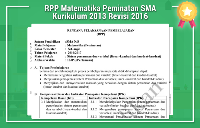 RPP Matematika Peminatan SMA Kurikulum 2013 Revisi 2016
