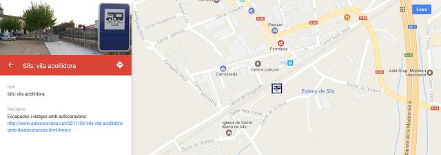 Situació de l'àrea d'autocaravanes de Sils