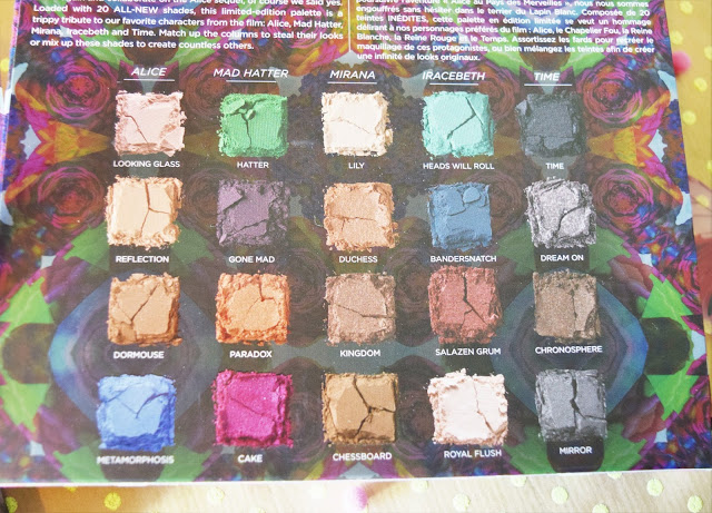 Urban Decay Alice Through The Looking Glass Eyeshadow Palette Shades