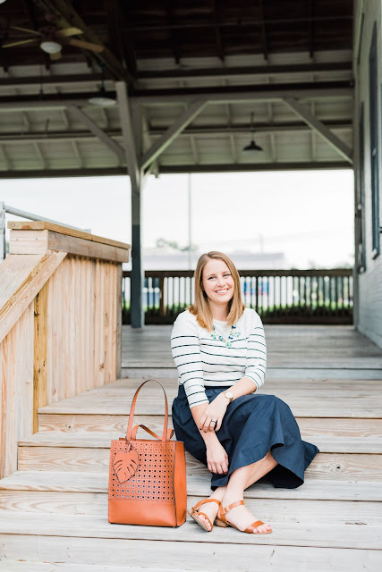 Navy Midi Skirt Outfit // Pugs and Pearls Blog