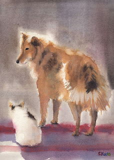 犬とネコ 水彩画 Dog and Cat Watercolor