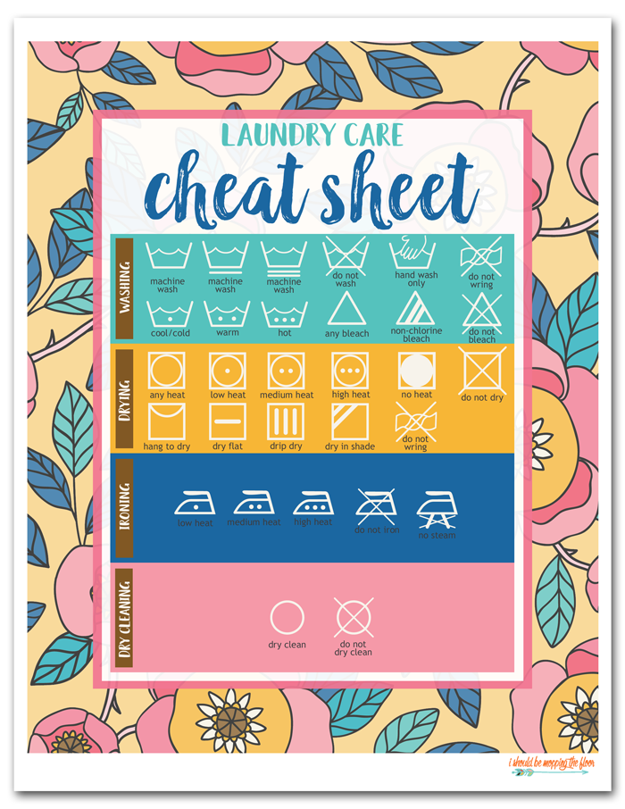 Free Laundry Room Printables (includes an 8x10 Laundry Care Cheat Sheet and matching labels)