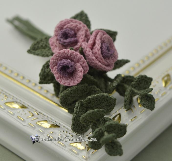 Брошь «Букетик роз» крючком. Схемы вязания (5)