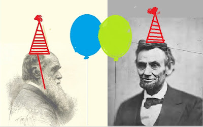 sketch of Darwin, photo of Lincoln, with birthday hats and balloons added