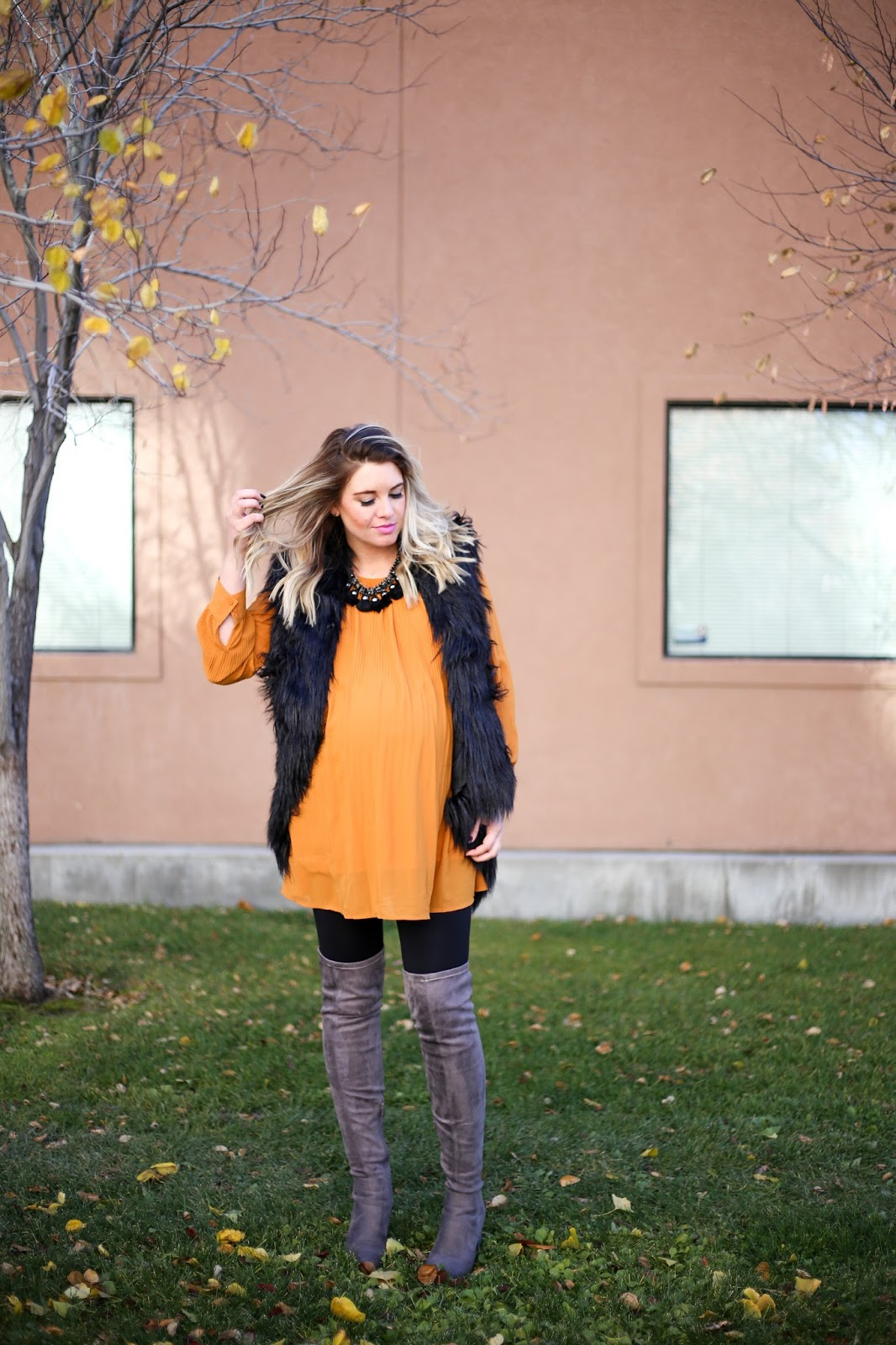 Tunic, Fur Vest, Choies, Boots, Winter Outfit