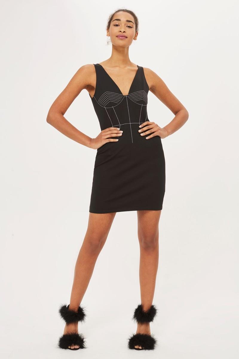 Topshop Contrast Stitch Mini Bodycon Dress