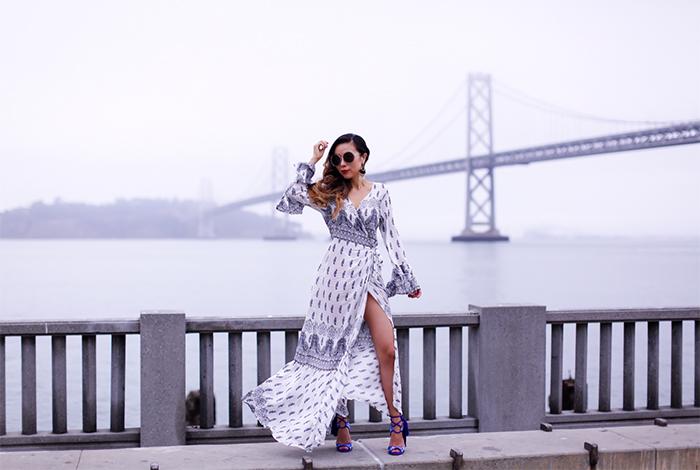 floral wrap maxi skirt, paul andrew tassel sandals, chloe sunglasses, baublebar earrings, maxi dress, san francisco bay bridge, san francisco street style