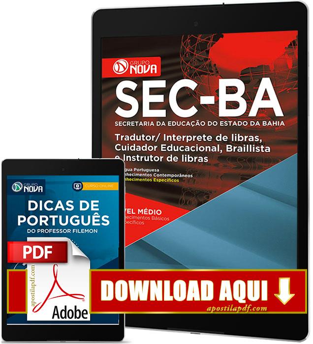 Apostila SEC BA 2017 PDF Download Cuidador Educacional Grátis Curso Online