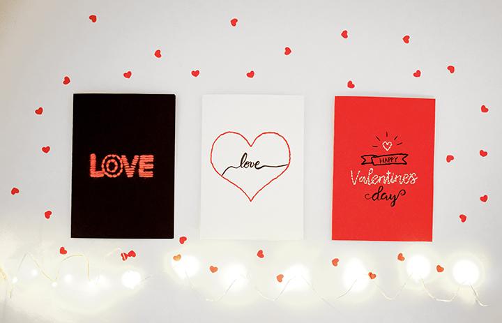 DIY broderie sur papier carte saint valentin