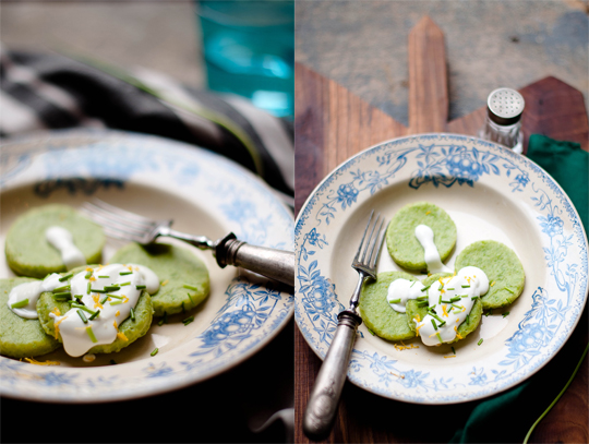 "Sugar pea ""gnocchi"" with cream cheese and chive"