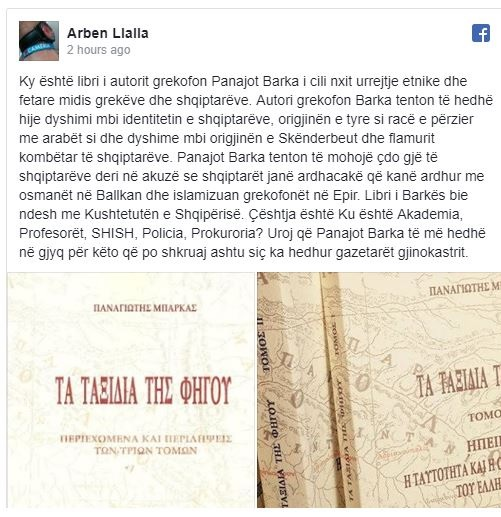 Arben Llalla shows the book of Panajot Barka who considers Albanians mixed with Arabs and doubts Skanderbeg's origin