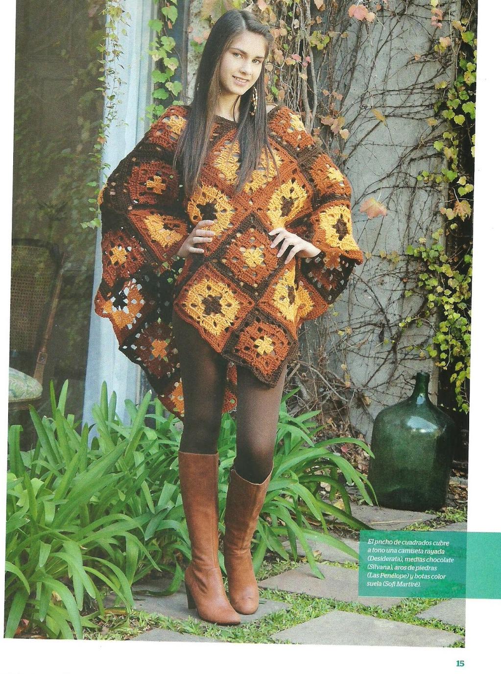 Poncho cuadrados grannys - Patrones Crochet