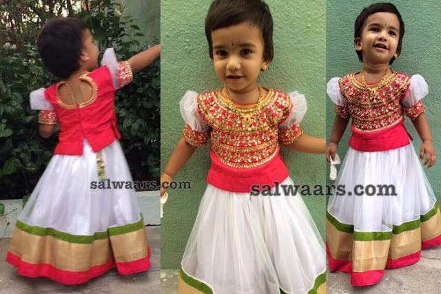 Little Kid in White Net lehenga