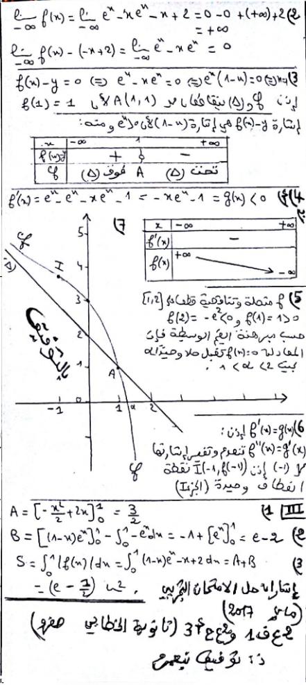 تصحيح امتحان تجريبي في مادة الرياضيات خلال سنة 2017، للاستعداد لامتحان دورة يونيو 2017.
