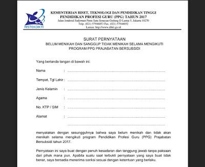 Contoh Surat Pernyataan Belum Menikah Dan Tidak Akan menikah Selama Mengikuti PPG Bersubsidi 2017