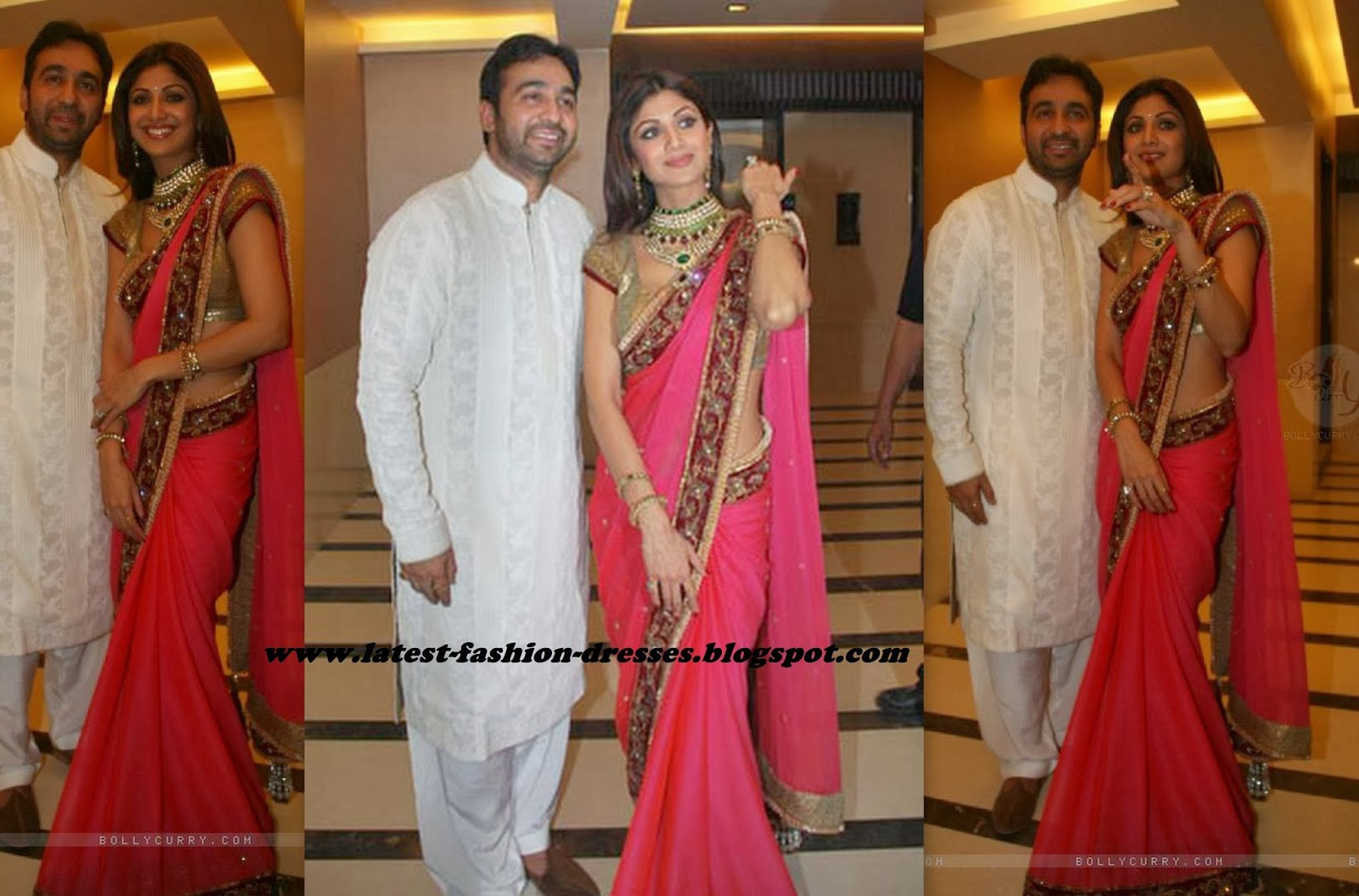 shilpa shetty in pink with maroon border designer saree