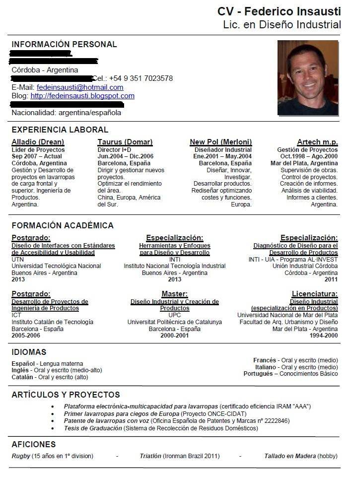 Federico Insausti Lic Diseno Industrial Curriculum Vitae