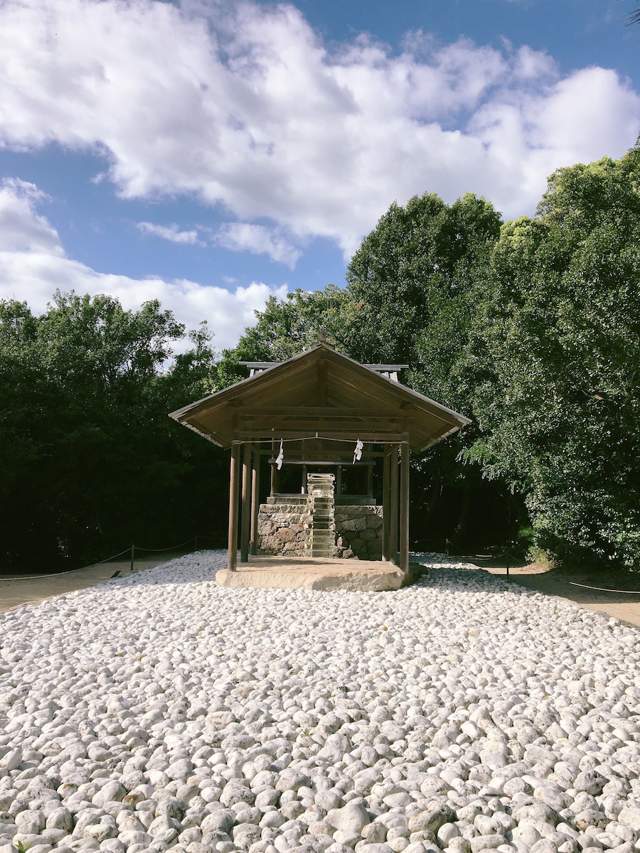 The outdoor shrine as part of the Honmura Art House Project Naoshima Island Japan