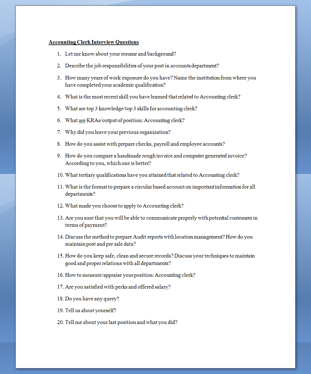 sample interview questions for accounting clerk mba sample interview questions for accounting clerk