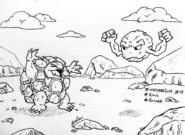 Inktober 2016 - Jour 08 - Rocher (Rock) - combat de Pokemons: Grolem versus Racaillou