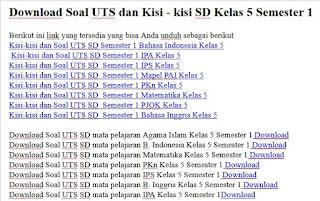 Download Soal UTS dan Kisi - kisi SD Kelas 5 Semester 1