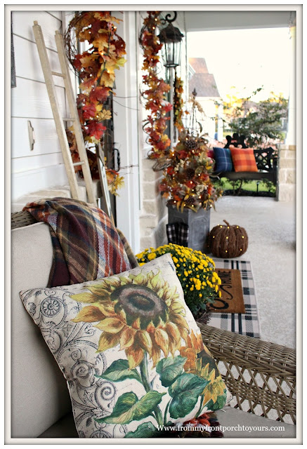 Fall Porch Decorations-Farmhouse Proch-Sunflower Pillow-Grapevine Garland with Lights-From My Front Porch To yours