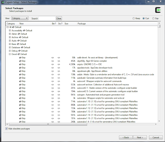 Package selection of the Cygwin framework.
