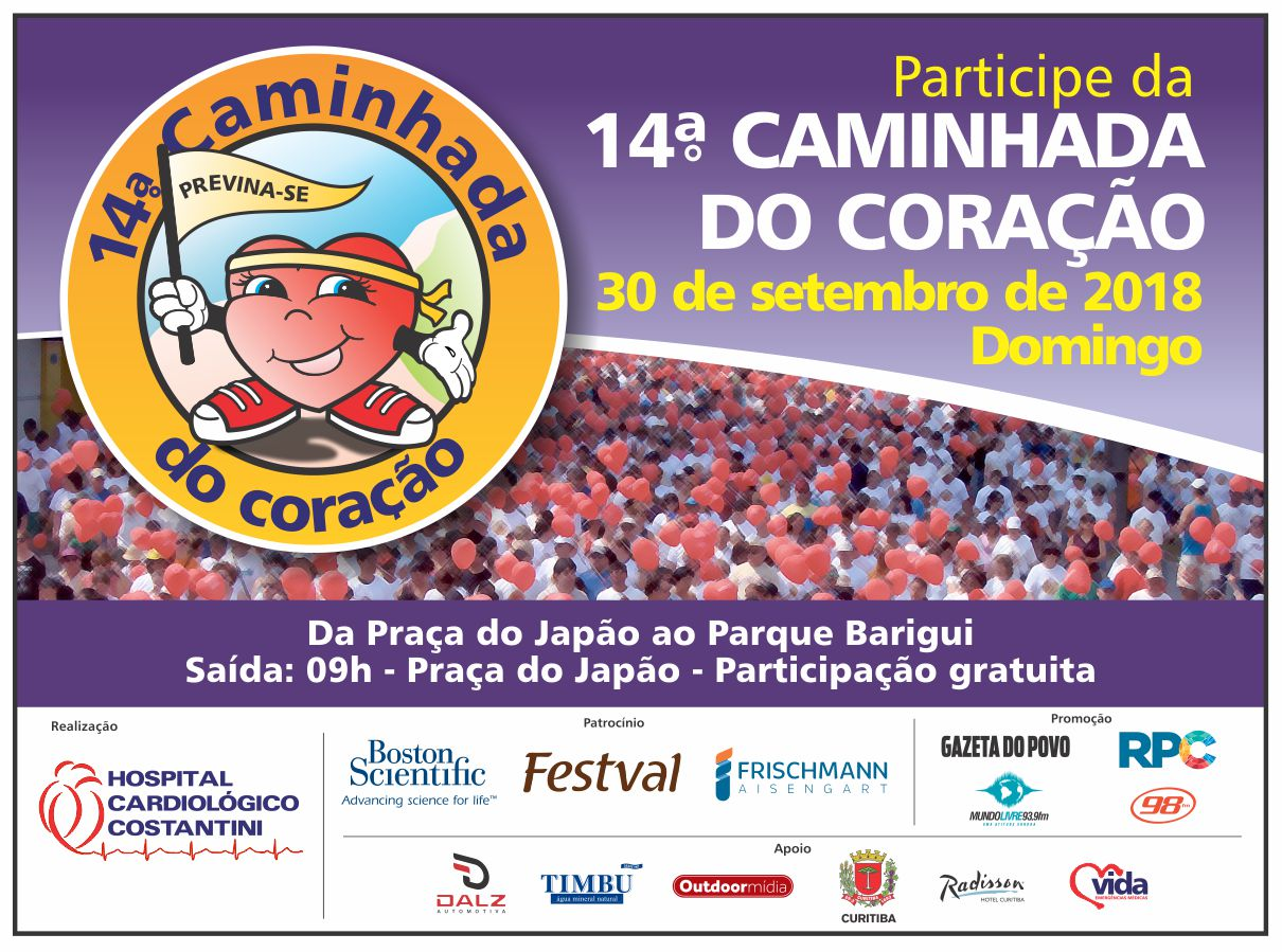 ba1fb2090e4 O Hospital Cardiológico Costantini organiza no próximo domingo (dia 30) a  14ª Caminhada do Coração