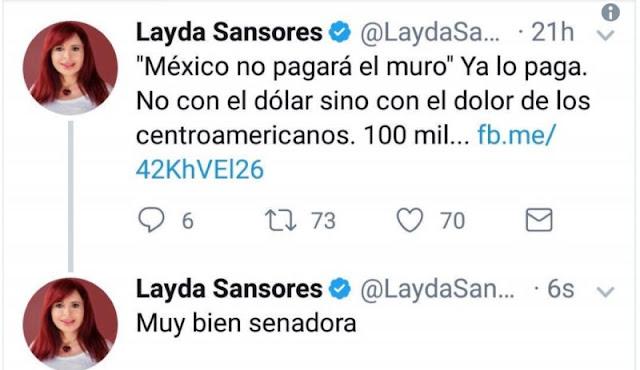 Senadora olvida cambiar de cuenta en Twitter y se felicita a sí misma.