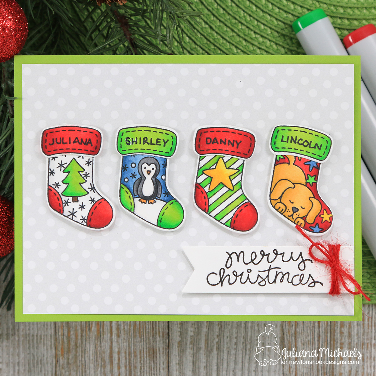 merry christmas stockings card by juliana michaels featuring newtons nook designs holiday stockings stamp set - Michaels Christmas Stockings