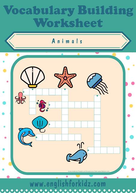 Sea animals crossword puzzle - printable ESL worksheets