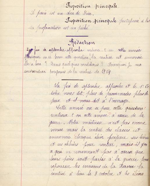 Cahier de Berthe L., élève de cours moyen, Toulon-sur-Arroux,1915