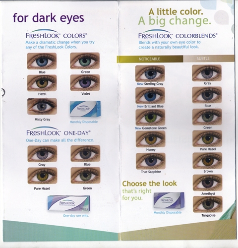 NEW LOOK COLORED CONTACT LENS 30 days (max 2 months for occasional use).  Color includes pearl gray, cool blue, aqua green, pretty brown, and sexy  violet. 5419b625f5