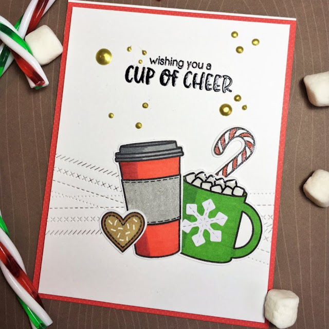 Sunny Studio Stamps: Mug Hugs Winter Themed Customer Card Share by Melissa Ann