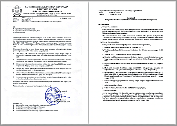 Surat Dirjen GTK Nomor 4184/B4/GT/2018 Tentang Pendaftaran Calon Peserta Pendidikan Profesi Guru Dalam Jabatan