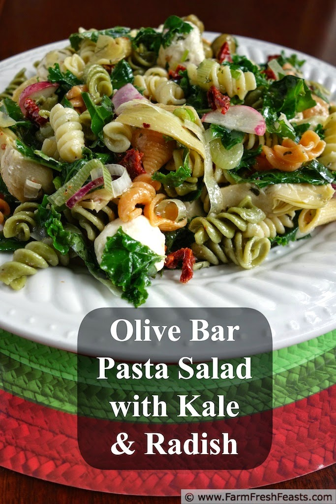 Antipasti Pasta Salad with Kale and Radish | Farm Fresh Feasts