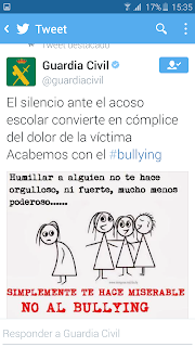 Tweet de @Guardiacivil sobre el bullying