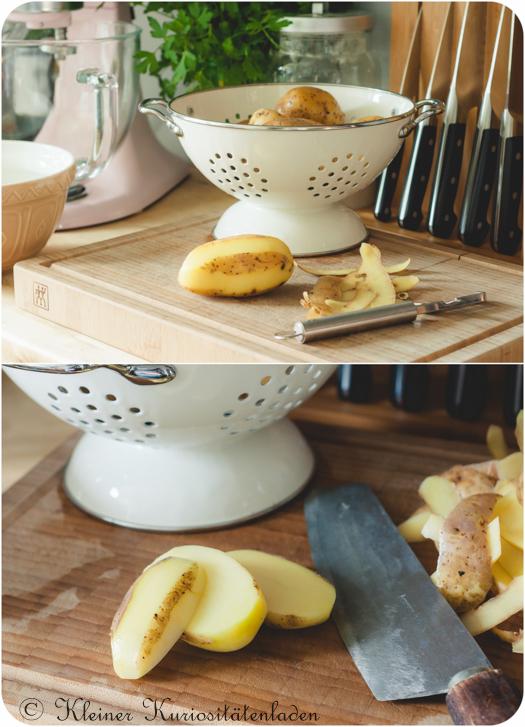 Geschälte Kartoffeln für Ofenpommes