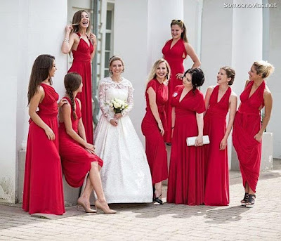 Vestidos de Damas de Honor Rojo