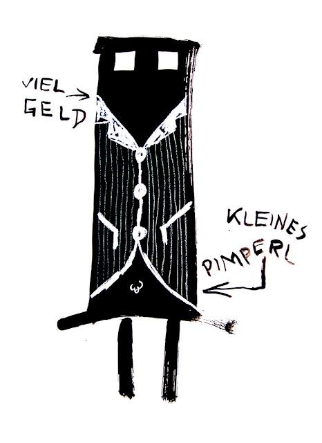 Kris Scheisse! 2008, Viel Geld kleines Pimperl, 100 x 70cm