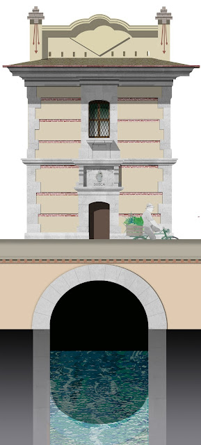 dibujo, arquitectura del agua,  Bocacaz acequia mayor de Sueca
