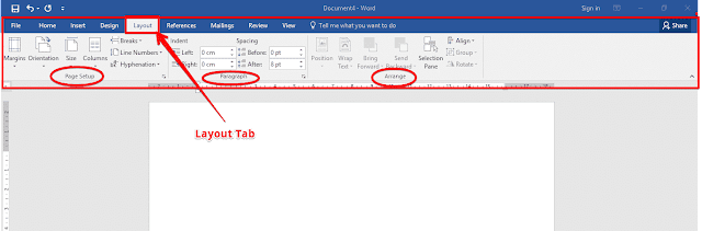 Layout tab in word 2016