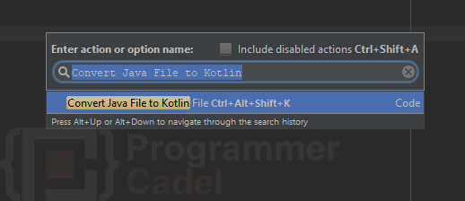 android studio - find action