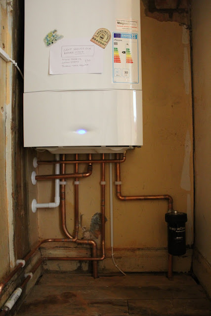 New Worcester Boiler in airing cupboard with magnaclean