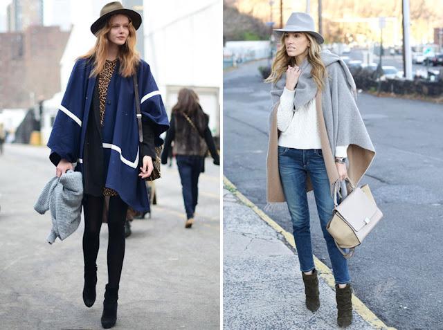 Пончо с узкими джинсами и шляпой