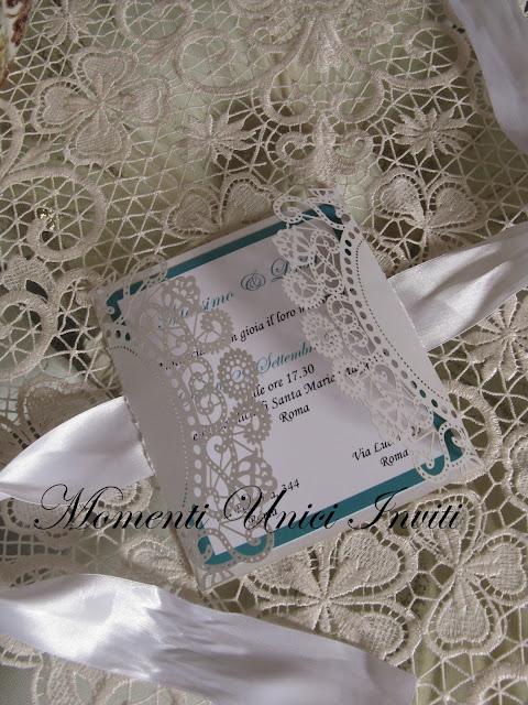 """IMG_5579 Modello """"Colazione da Tiffany"""" per una coppia di sposi sofisticata...Colore Bianco Colore Tiffany Partecipazioni intagliate"""