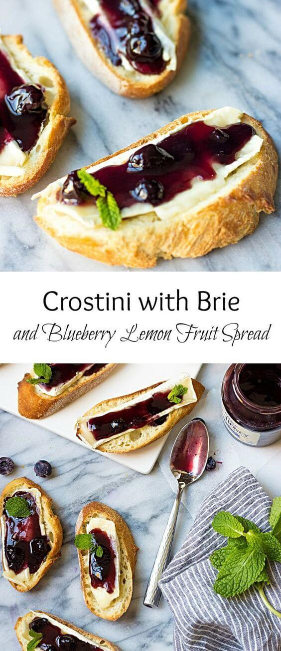 Crostini With Brie And Blueberry Lemon Fruit Spread